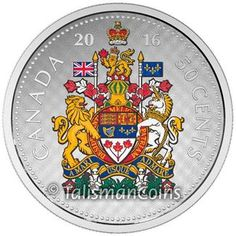 Canada 2016 Big Coins Series #5 - Canadian National Coat of Arms 50 Cents 5 Troy Ounce Pure Silver Half Dollar Proof with Full Color GX L07