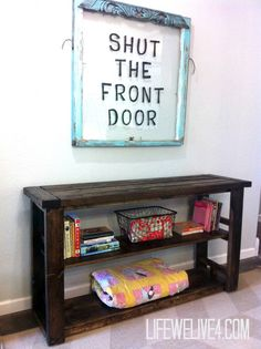 DIY Wooden Bookshelf / Console Table , easy build that I did all by myself!!