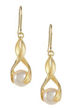 14K Yellow Gold 10mm Freshwater Pearl Stilnovo Earrings on @HauteLook