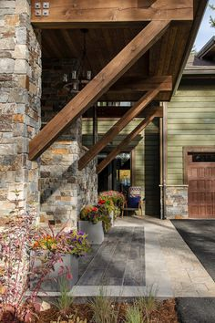 The eclectic design of the entry sets the architectural tone for home's contemporary/rustic design theme. Eclectic Design, Rustic Design, Eclectic Decor, Patio Pictures, Hgtv Dream Homes, Porch Kits, Building A Porch, Rustic Contemporary, Contemporary Bedroom