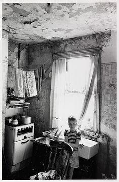 Nick Hedges' photographs for Shelter - Kitchen of slum house, Birmingham Duddleston, August 1970