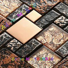 Cerámica rústica casa diseños de baldosas de vidrio de mosaico piso de la ducha de acero backsplash de la cocina