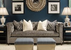 Dark blue walls, black and white accents, Gray couch. Classy and chic. Dark blue walls, black and white accents, Gray couch. Classy and chic. I'd add pops of color though. Living Room Paint, Home Living Room, Living Room Decor, Apartment Living, Paint Couch, Navy Blue And Grey Living Room, Apartment Design, Living Spaces, Dark Blue Walls