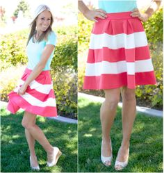 Pleated Color Block Skirt $28.99 @The Nest On Main!!