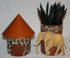 idee cadeau à fabriquer fête des peres pot à crayon theme afrique, mai 2010