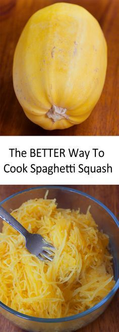 """This brilliant """"spaghetti squash"""" cooking trick is a MUST try. - The difference in taste & texture is incredible! http://chocolatecoveredkatie.com/2016/02/15/how-to-cook-spaghetti-squash-oven-microwave/ @choccoveredkt"""