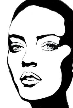 Rikke Jorgensen #illustration #beautyillustration #howto #blackandwhite #trafficNYC for artist bookings contact info@traffic-nyc.com