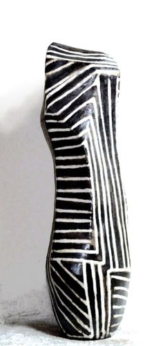 Black and white - ZEBRA TOTEM- stoneware with porcelain inlays - Brenda Holzke - gallery - eclectic