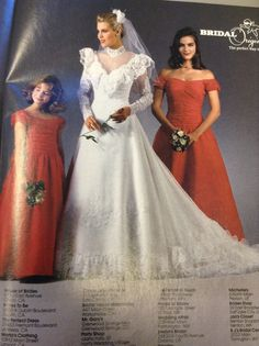 1987 brides magazine the year I got married Types Of Wedding Gowns, Wedding Dress With Veil, Vintage Style Dresses, Vintage Outfits, Vintage Clothing, Bridal Looks, Bridal Style, Designer Wedding Dresses, Bridal Dresses