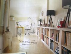 Office Spare Bedroom Office, Home Office, Bookcase, Shelves, Offices, Studios, House, Furniture, Home Decor