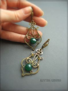 WIRE WRAPPED EARRINGS WITH GREEN GLASS BEADS
