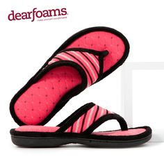 Bold colors add a fun touch to these quilted stripe Dearfoams flip-flops.