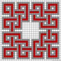 Celtic inspired design perler bead pattern Aussi l'idée de prendre des feuilles quadrillées pour faire le pqatron.  Peut fonctionner pour tout.