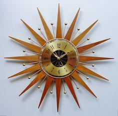 Mid Century Modern Starburst Clock by Seth Thomas, Atomic Wall Clock, Sunburst Clock, Danish Modern.