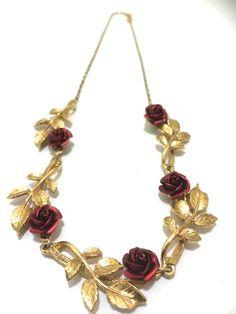 Red Rose Necklace Vintage Goldtone Leaf / Leaves by Bluebowvintage