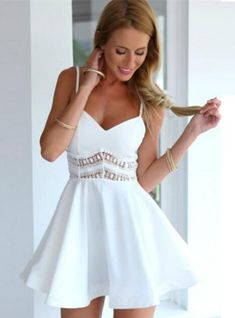 3810fbada9 Strap V Neck Crochet Lace Waist Skater Dress