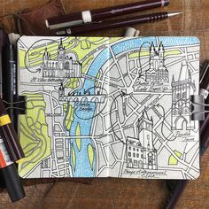 Prague Moleskine city map drawing 5 well known historical sites St Vitus…