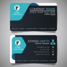 blue and black modern creative business card and name cardhorizontal simple clean template vector design layout in rectangle size. Identity Card Design, Id Card Design, Brochure Design, Design Layouts, Identity Branding, Visual Identity, Design Design, Business Card Stock, Create Business Cards