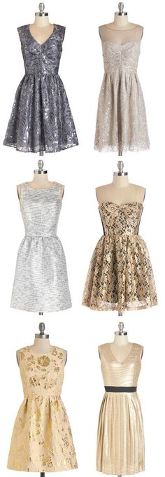 Beautiful Metallic Party Dresses for NYE!