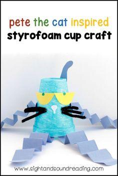 Pete The Cat Styrofoam Cup Craft