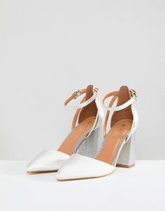 Buy Be Mine Bridal Lissy Ivory Satin Block Heeled Shoes at ASOS. With free delivery and return options (Ts&Cs apply), online shopping has never been so easy. Get the latest trends with ASOS now. Wedding Shoes Block Heel, Comfy Wedding Shoes, Wedding Shoes Bride, Wedding Shoes Heels, Block Heel Shoes, Bride Shoes, Closed Toe Block Heels, White Block Heels, Pointed Toe Block Heel