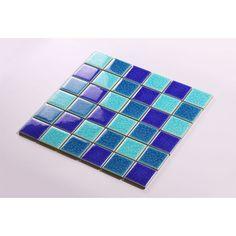 Crackle Glass Tile with Porcelain Base Swimming Pool Tiles Flooring Kitchen Backsplash Wall Mosaic DBL003