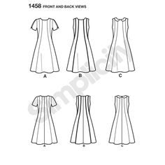 Misses' and Plus Size Amazing Fit A-line dress with princess seams has individual pattern pieces for slim, average and curvy fit and B, C, D, and DD cup sizes. Dress also has invisible back zipper. Simplicity sewing pattern.