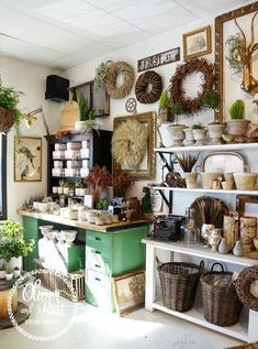 The green desk as a display and the white table + white shelves combo - - Antique Mall Booth, Antique Booth Ideas, Antique Store Displays, Antique Shops, Gift Shop Displays, Retail Displays, Flea Market Displays, Green Desk, Boutique Deco