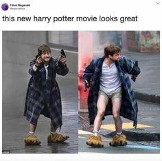 Watch out, people. Harry Potter's traded in his wand for a pair of guns...and a bathrobe?