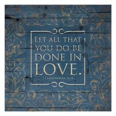 Framed Done In Love Blue Print