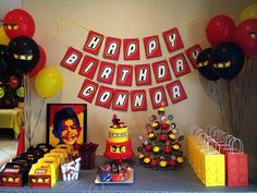 Lego Ninjago Party | love the ninjago balloons and sign!