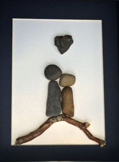 Stone people, twig, shadow box. Father's Day 2015