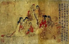 A group of eight adults and children The extant nine scenes of the British Museum copy of the Admonitions Scroll, Scene 4 at the right, and Scene 12 at the left.