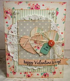 love the layered look with doily and hearts plus twine and button