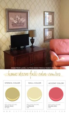This Rabat stenciled living room features a gorgeous Fall color combination! http://www.cuttingedgestencils.com/moroccan-stencil-pattern-3.html #fall #colors #room #stenciling #cuttingedgestencils #homedecor