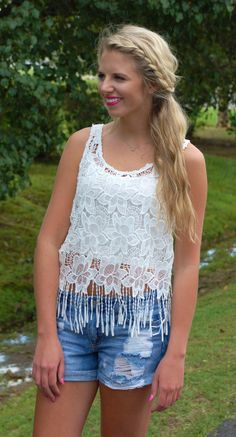 Fringe and Floral Cropped Tank