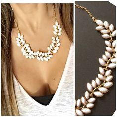 White & Gold Statement Necklace  NWOT -- Gorgeous Necklace.  Not for trading  Jewelry Necklaces