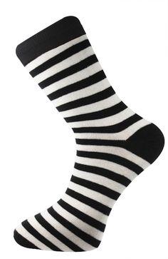 Mens Socks Stripe White & Black