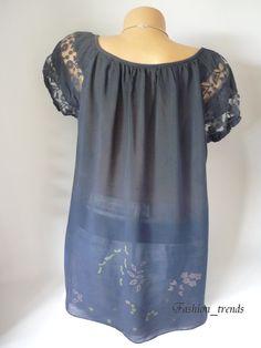 Italy Vintage Blumen Bluse Häkel Spitze Shirt Top Tunika Geblümt Marine 38  40 42… 2a5b08368a