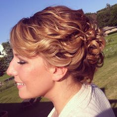 Soft natural wedding updo curled hair style