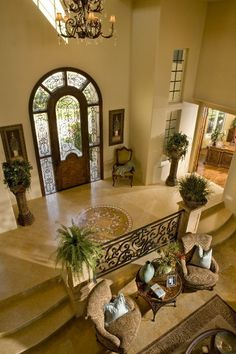 The door entrance way to this home is stunning, and entering the living room/foyer is inviting for guests, as well as one being very happy to be at home! Dream Home Design, Home Interior Design, My Dream Home, Dream Big, Interior Decorating, Hm Deco, Beautiful Front Doors, Villa Plan, House Entrance