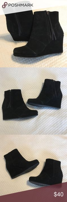 Tom's wedge booties suede feel with zipper. Tom's wedge booties suede feel with zipper. Cute wedge booties worn once, just too high of a wedge for me. TOMS Shoes Ankle Boots & Booties