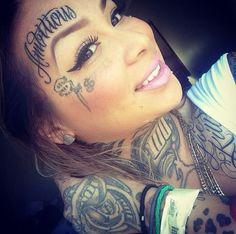 I love her lip stick Facial Tattoos, Body Art Tattoos, Sleeve Tattoos, Dope Tattoos, Girl Tattoos, Tattoo Girls, Tatoos, Face Tats, Face Tattoos For Women