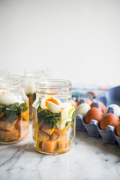 With sweet potatoes, kale, and perfect soft-boiled eggs, these make-ahead balanced breakfast jars make for a perfect, healthy start to your day! Breakfast In A Jar, Balanced Breakfast, Make Ahead Breakfast, Paleo Breakfast, Free Breakfast, Breakfast Time, Breakfast Ideas, Healthy Carbs, Healthy Meal Prep