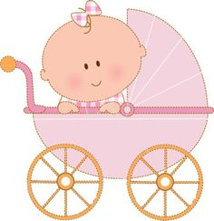 baby clipart girl cute pink baby carriage free clip art family rh pinterest com baby girl clipart black and white clipart baby girl shower