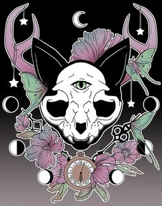 'Twilight -- Skull Cat' iPhone Case by Bianca Loran Witchy Wallpaper, Goth Wallpaper, Halloween Wallpaper, Dessin Old School, Pastel Goth Art, Cat Skull, Mandala, Cat Aesthetic, Witch Art