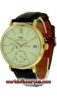 This IWC Portofino Hand-Wound 8-Day Men's Watch features: Mechanical Manual-Winding movement, Calibre 59210 (30 jewels) with Hour, Minute, Small Second functions. Power Reserve indicator at 9 o'clock position, 18k Rose Gold case with fixed bezel, Case size: 45 mm, Silver Dial with Gold applied index hour markers and hands. - http://www.worldofluxuryus.com/watches/IWC/Portofino/IW510107/185_209_5280.php#sthash.R3Ind8PM.dpuf
