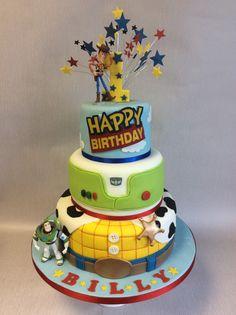 3 tier Toy Story theme 1st birthday cake