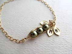Peas in a Pod Bracelet, Three PEAS Pod Bracelet, Gold Filled, Mothers Day Gifts, Gifts for Valentine, Personalized Necklace Gifts for Mom. $32.50, via Etsy.