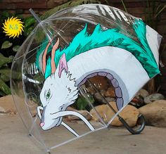 This handmade Haku, painted on an umbrella: | 23 Of The Most Gorgeous Pieces Of Miyazaki Fan Art